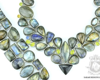 BLUE Fire CANADIAN LABRADORITE 925 Solid Sterling Silver Necklace  Set 159