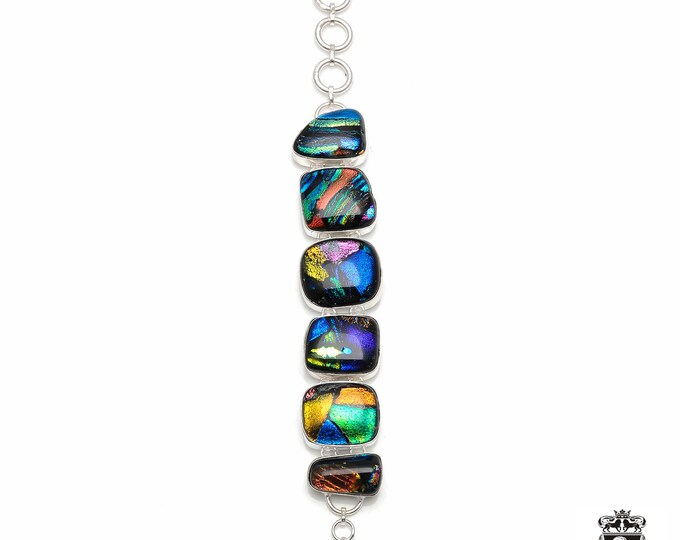 DICHROIC Glass Murano Glass 925 Sterling Silver + Copper Bonded Bracelet & Worldwide Express Tracked Shipping B3049