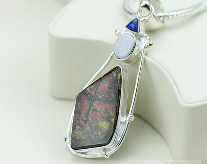 Lapis Opal Doublet GENUINE Canadian AMMOLITE 925 Solid Sterling Silver Pendant + 4mm Snake Chain & FREE Worldwide Shipping P1597