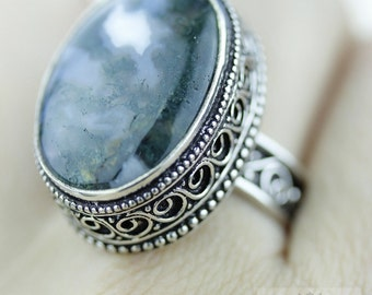 Size 8.5 African Moss Agate 925 S0LID (Nickel Free) Sterling Silver Vintage Setting Ring r1817