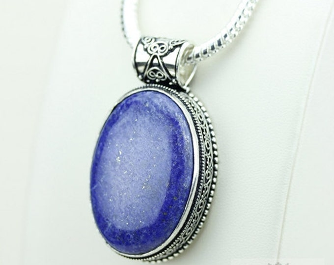 Lapis Vintage Filigree Setting 925 S0LID Sterling Silver Pendant + 4mm Snake Chain & FREE Shipping p3373