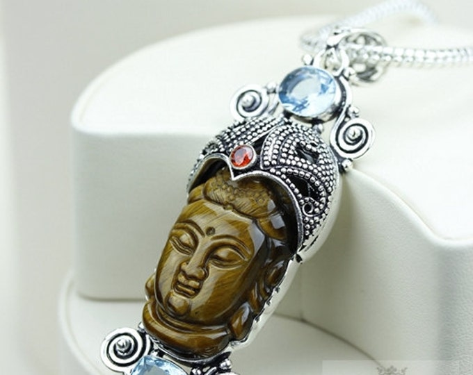Surrounded By Serenity! Kwan Yin Guanyin BUDDHA Goddess Face Moon Face 925 S0LID Sterling Silver Pendant + 4MM Chain & Free Shipping P3744