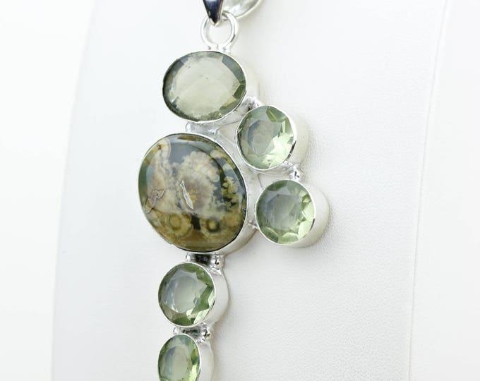 Ocean Jasper Green Amethyst 925 S0LID Sterling Silver Pendant + 4MM Snake Chain & Worldwide Shipping p4093