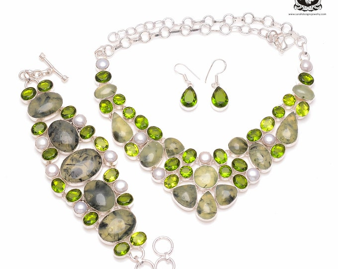 Healing Factor at Play! PREHNITE Pearl Peridot 925 Sterling Silver + Copper Bonded Necklace Bracelet & Earrings ALL Included SET510