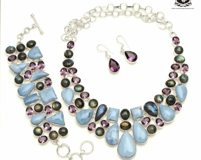 RARE! Blue JOHN Stone Labradorite 925 Sterling Silver + Copper Bonded Necklace Bracelet & Earrings ALL Included SET523