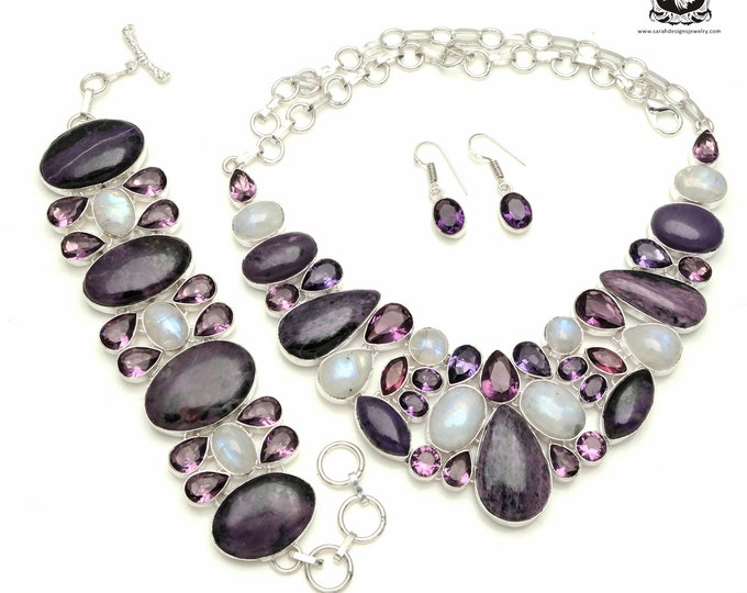 Proper Usage of Colors! CHAROITE Rainbow MOONSTONE Amethyst Sterling Silver + Copper Bonded Necklace Bracelet & Earrings ALL Included SET537