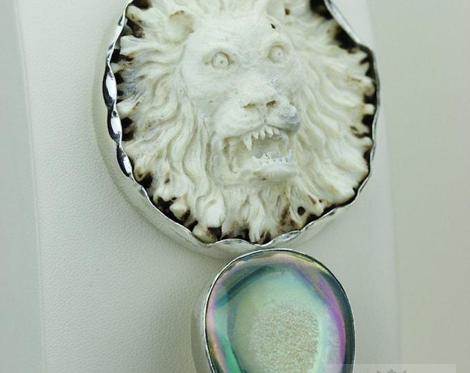 IMPERIAL BRITISH GAURD Lion Totem Deer Antler Bone Carving 925 S0LID Sterling Silver Pendant + 4MM Snake Chain & Free Worldwide Shipping c30