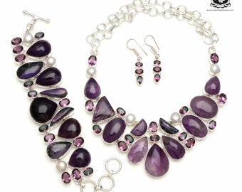 Color Coordination! Amethyst Cabochon Pearl Mystic Topaz 925 Sterling Silver Copper Bonded Necklace Bracelet & Earrings ALL Included SET598