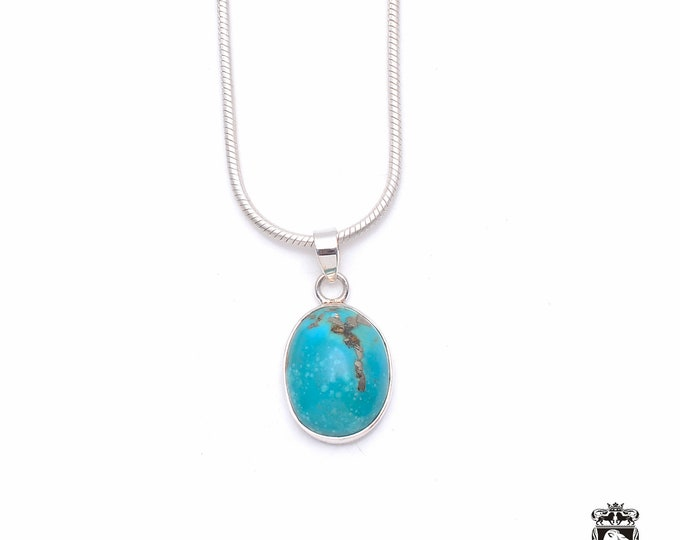 Dose of Sweetness! KINGMAN Turquoise Fine 925+ 975 S0LID Sterling Silver Pendant + Snake Chain P6372