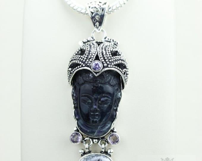 Dendritic Agate Fluorite Kwan Yin Guanyin BUDDHA Goddess Face Moon Face 925 S0LID Sterling Silver Pendant + 4MM Chain & Free Shipping p3756