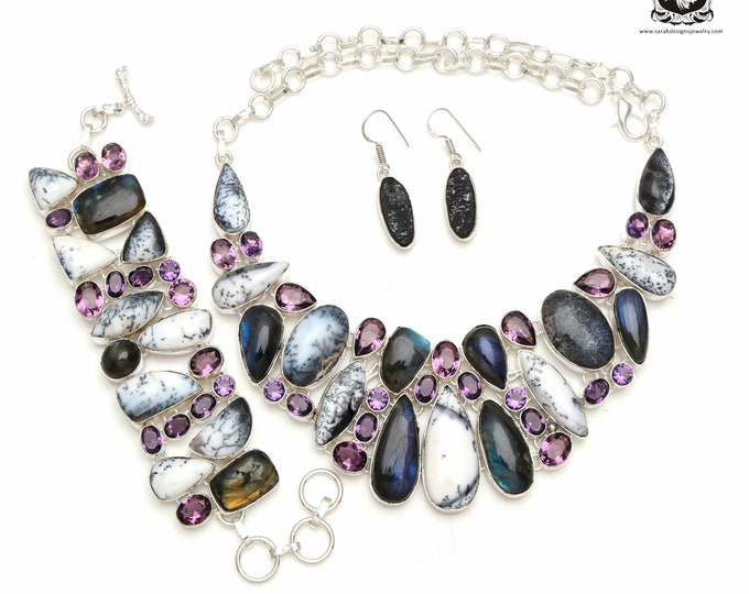 BUY this one! MERLINITE Dendritic Opal Labradorite 925 Sterling Silver + Copper Bonded Necklace Bracelet & Earrings ALL Included SET595