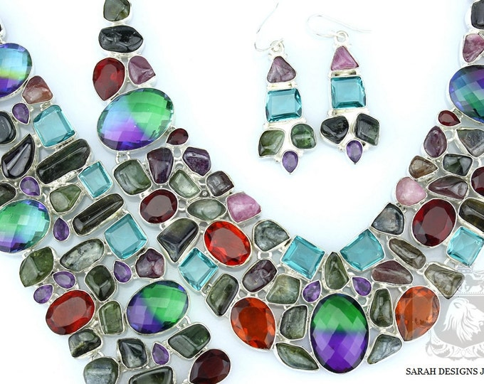 Huge 9207 CARATS COMBINED TOURMALINE 925 Solid Sterling Silver Necklace Set 113