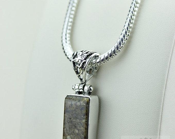 TURRITELLA Agate 925 S0LID Sterling Silver Pendant + 4MM Snake Chain  P3524