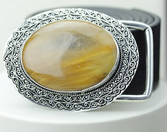 WoW Factor! RUTILE RUTILATED Quartz Vintage Filigree Antique 925 Fine S0LID Sterling Silver + Copper BELT Buckles T8