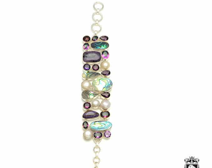 All the right moves! Abalone Shell CHAROITE Pearl Amethyst 925 Sterling Silver + Copper Bonded Bracelet & Worldwide Tracked Shipping B3333
