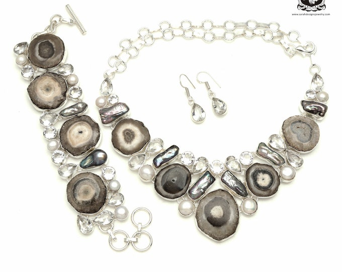 You've EARNED this! Smokey Quartz STALACTITE Clear Topaz Pearl 925 Silver + Copper Bonded Necklace Bracelet & Earrings ALL Included SET518
