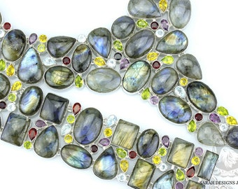 Super Huge! 613 GRAM CANADIAN LABRADORITE 925 Solid Sterling Silver Necklace Set 90