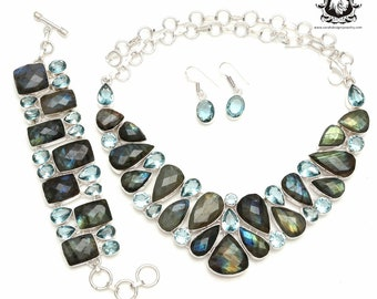 Get this for yourself! Faceted Canadian Labradorite 925 Sterling Silver + Copper Bonded Necklace Bracelet & Earrings ALL Included SET599