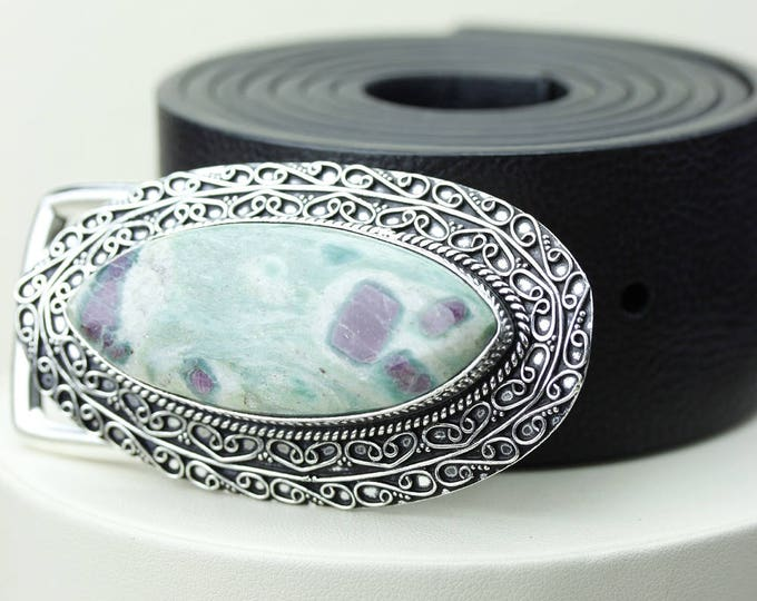 Genuine Brazilian RUBY in FUCHSITE Marquise Shaped Vintage Filigree Antique 925 Fine S0LID Sterling Silver + Copper BELT Buckle T19
