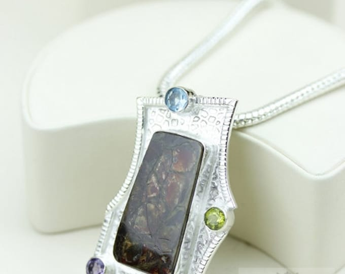 Thick Setting! GENUINE Canadian AMMOLITE 925 Solid Sterling Silver Pendant + 4mm Snake Chain & FREE Worldwide Shipping P1603
