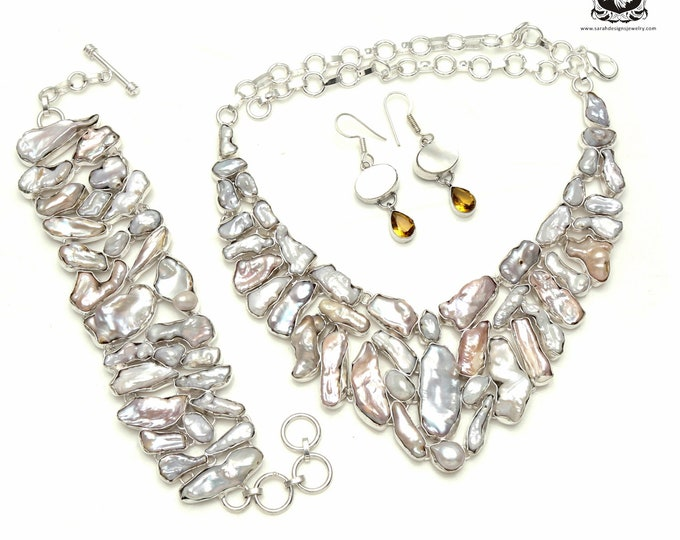 EXTRA-VIRGIN! Freshwater flat Pearl 925 Sterling Silver + Copper Bonded Necklace Bracelet & Earrings ALL Included SET544