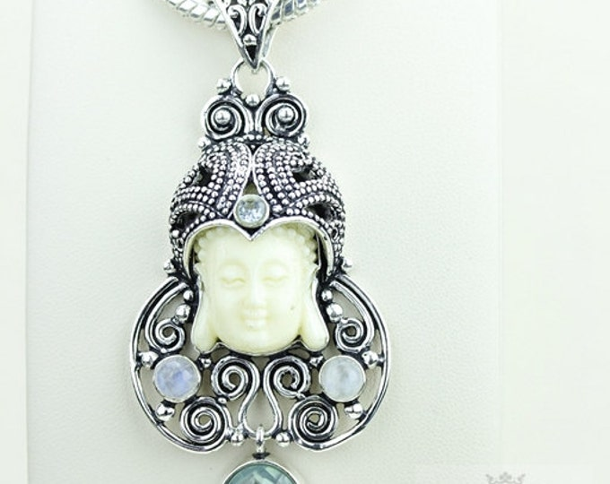 Illustrious Creation! Kwan Yin Guanyin BUDDHA Goddess Face Moon Face 925 S0LID Sterling Silver Pendant + 4MM Chain & Free Shipping p3805