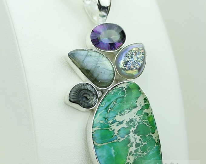 Green TURQUOISE Pyrite AMMONITE LABRADORITE Mystic Topaz 925 S0LID Sterling Silver Pendant + 4mm Snake Chain & Free Shipping mp396
