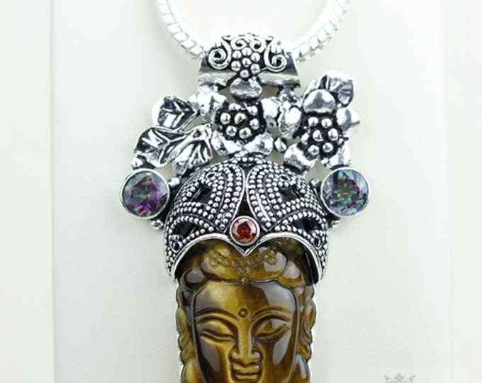 Antique Filigree Pattern! Kwan Yin Guanyin BUDDHA Goddess Face Moon Face 925 S0LID Sterling Silver Pendant + 4MM Chain & Free Shipping P3747