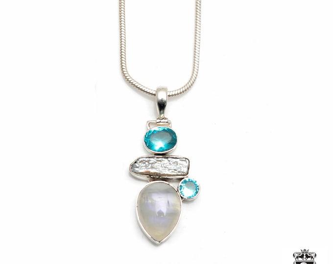 Simple Design! Blue Topaz RAINBOW MOONSTONE Pearl Aquamarine Fine 925+ 975 S0LID Sterling Silver Pendant + Snake Chain P6131