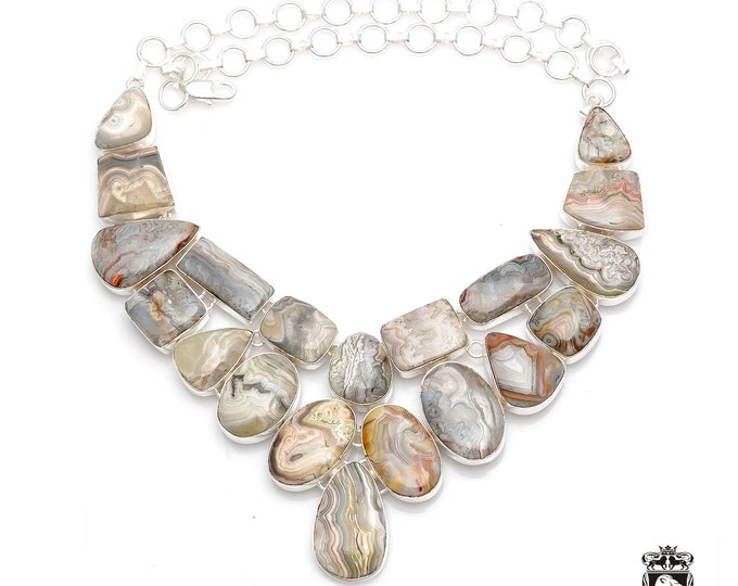 Most Diserable Pattern! AAA Grade CRAZYLACE AGATE Multi Layered 925 Sterling Silver + Copper Bonded Necklace & Worldwide Shipping N0056