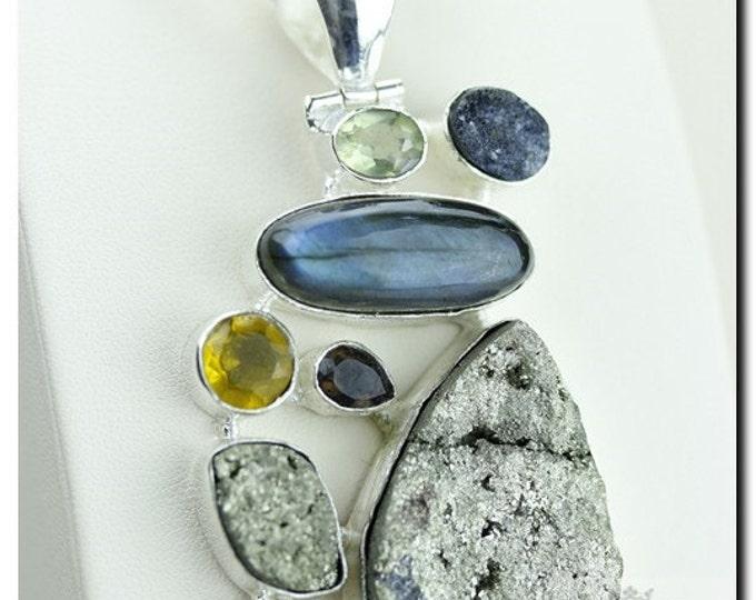 Pyrite Drusy Labradorite Citrine Prasiolite 925 SOLID Sterling Silver Pendant + 4mm Snake Chain & Worldwide Shipping