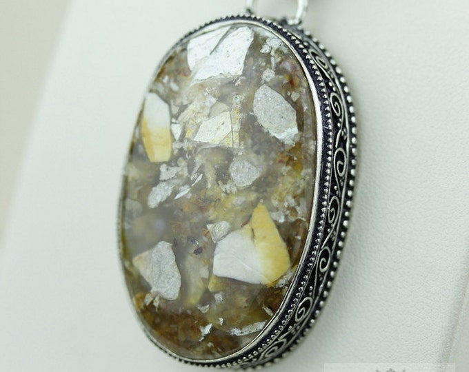 BRECCIATED JASPER VINTAGE Style Setting 925 Solid Sterling Silver Pendant + 4mm Snake Chain p2184