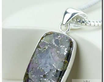 Watermelon Tourmaline in Pyrite Mineral Formation 925 SOLID Sterling Silver Pendant + 4mm Snake Chain & Worldwide P1170