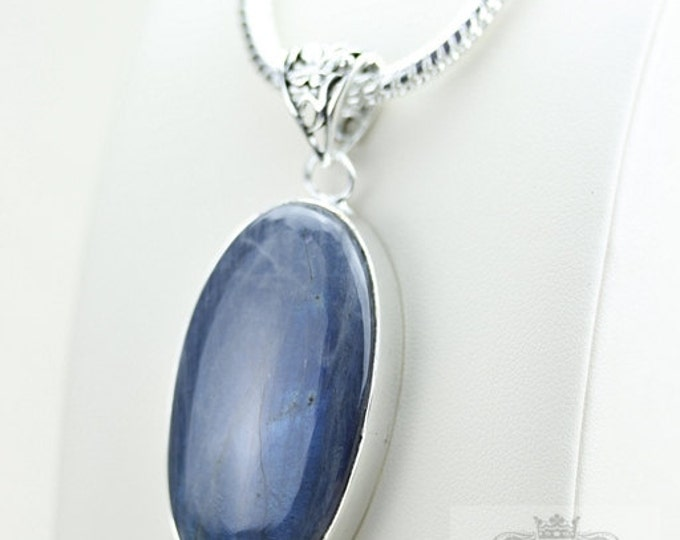 Oval Shaped! AAA Grade Blue LABRADORITE 925 S0LID Sterling Silver Pendant + 4MM Snake Chain p3064