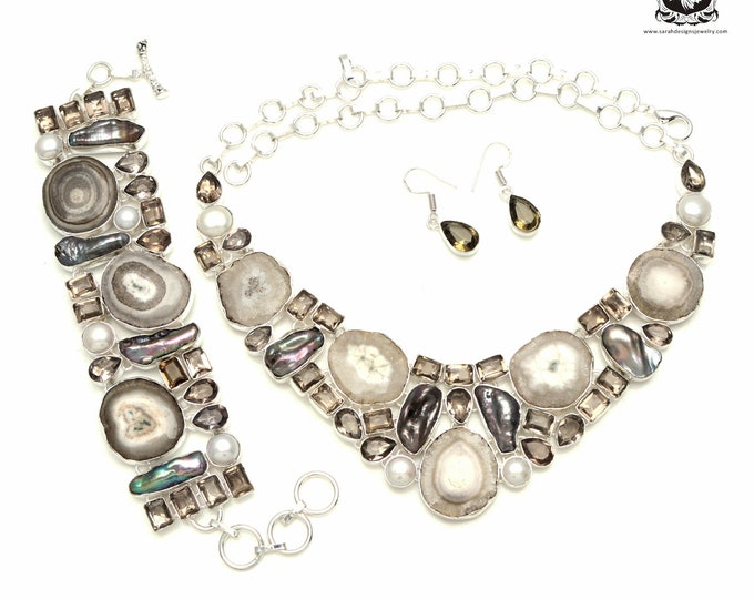Make your friends Jealous! SMOKEY Quartz STALACTITE 925 Sterling Silver + Copper Bonded Necklace Bracelet & Earrings ALL Included SET522