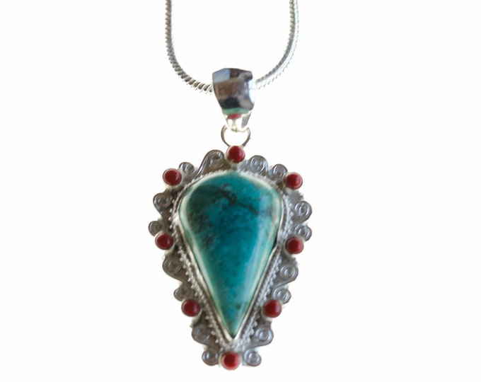 Excellent Quality Turquoise Coral 925 Sterling Silver + BONDED Copper Pendant Chain & Worldwide Shipping p4487