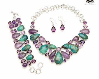 Crowd-Pleaser! SHATTUCKITE Azurite AMETHYST 925 Sterling Silver + Copper Bonded Necklace Bracelet & Earrings ALL Included SET592