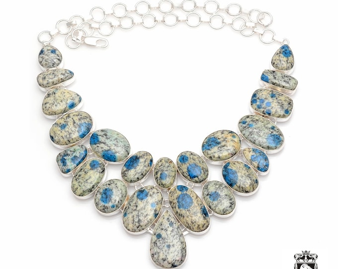 Beautiful AAA Graded K2 JASPER Azurite in Granite Afghanite 925 Sterling Silver + Copper Bonded Necklace & Worldwide Express Shipping N0058
