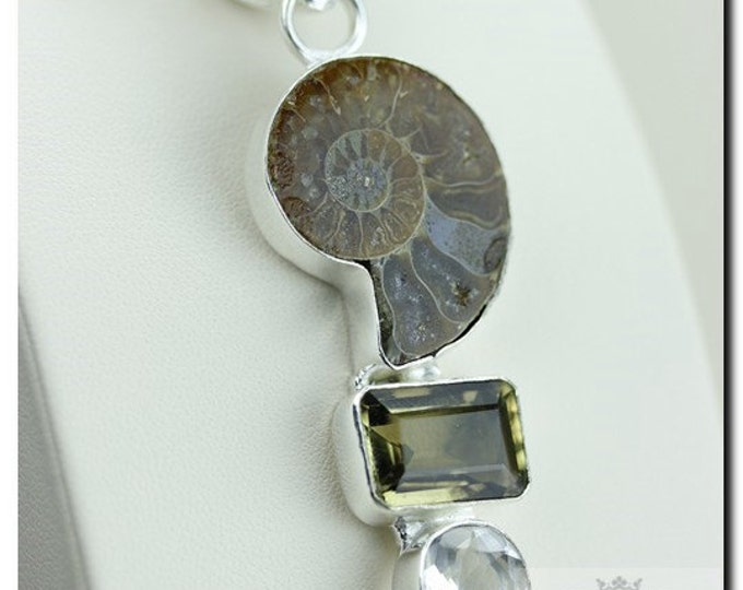 Madagascar Ammonite Fossil Imperial Topaz 925 SOLID Sterling Silver Pendant + 4mm Snake Chain & FREE Worldwide Shipping p1863