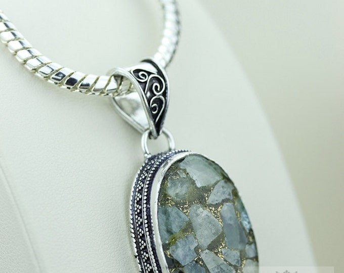 CHALCEDONY In COPPER VINTAGE Style925 Solid Sterling Silver Pendant + 4mm Snake Chain  p2251