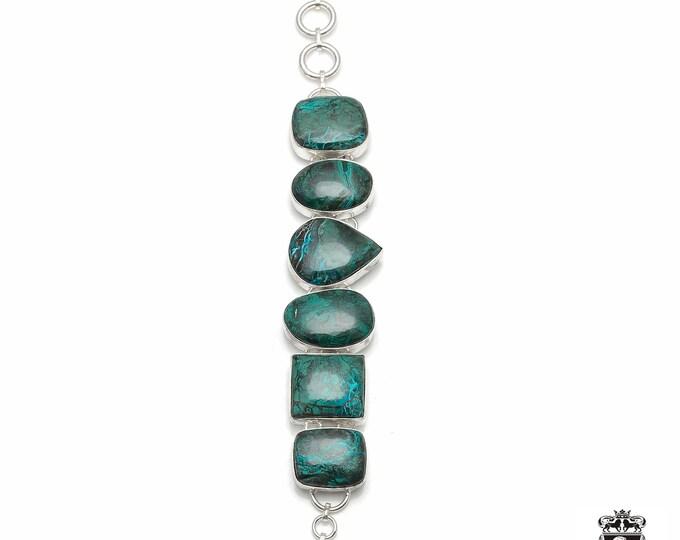 AAA Pattern! Shattuckite Chrysocolla AZURITE 925 Sterling Silver + Copper Bonded Bracelet & Worldwide Express Tracked Shipping B3061