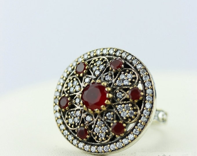 Size 8.5 Ruby Victorian Estate (Nickel Free) 925 Sterling Silver Ring r1976
