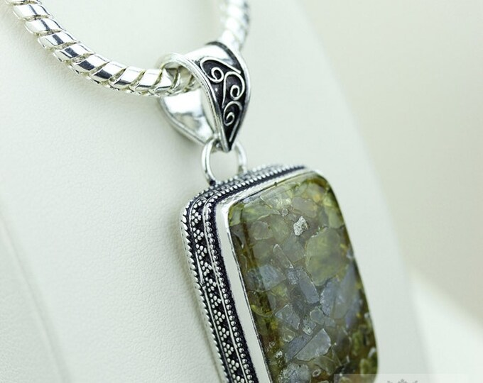 CHROME TOURMALINE AGGREGATE Vintage Style Setting 925 Solid Sterling Silver Pendant + 4mm Snake Chain p2217