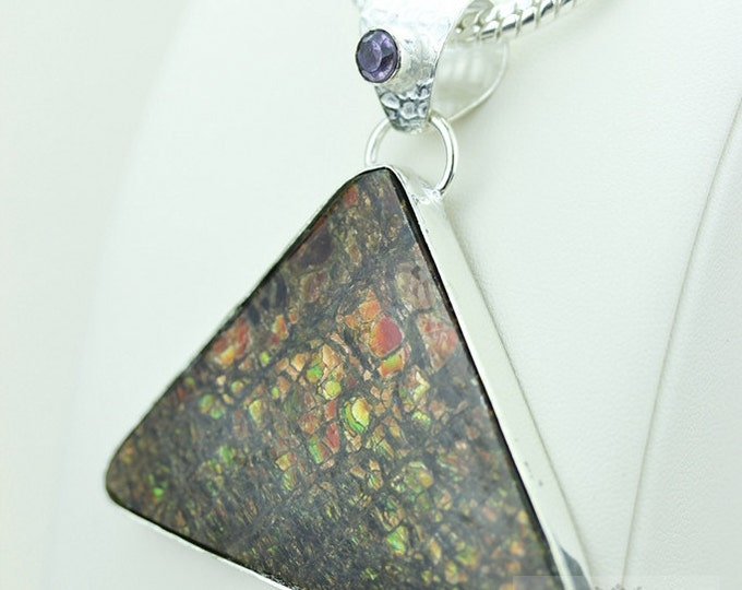 Dragonskin Pattern! GENUINE Canadian AMMOLITE 925 S0LID Sterling Silver Pendant + 4MM Snake Chain & FREE Worldwide Express Shipping A15