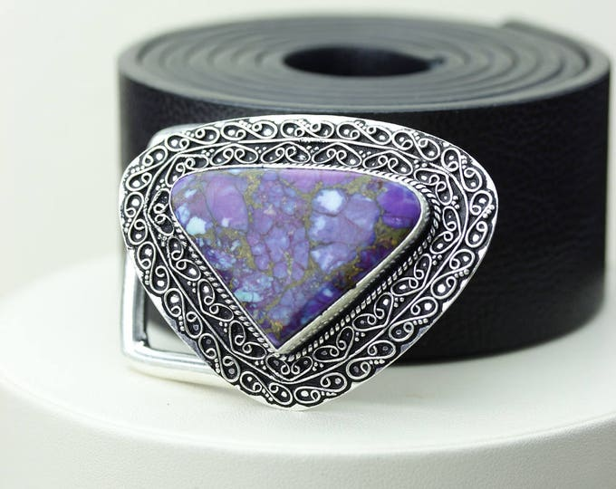 Heart Shaped! Mohave Purple TURQUOISE Vintage Filigree Antique 925 Fine S0LID Sterling Silver + Copper BELT Buckle T41