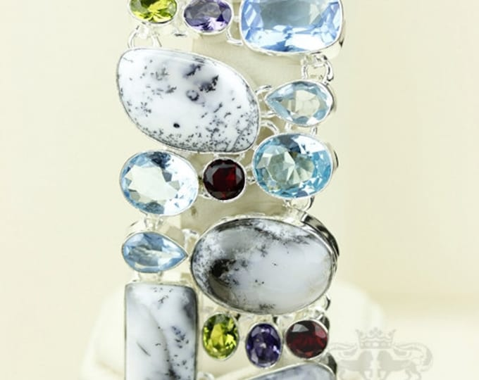 Dendritic Agate Dendrite MERLINITE Aquamarine 925 S0LID Sterling Silver Bracelet & FREE Worldwide Express Shipping B1751