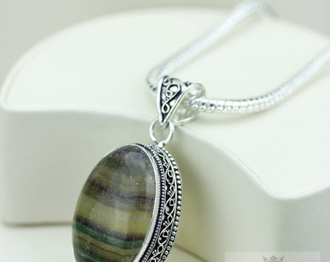 Fluorite Vintage Filigree Setting 925 S0LID Sterling Silver Pendant + 4mm Snake Chain & FREE Shipping p3197