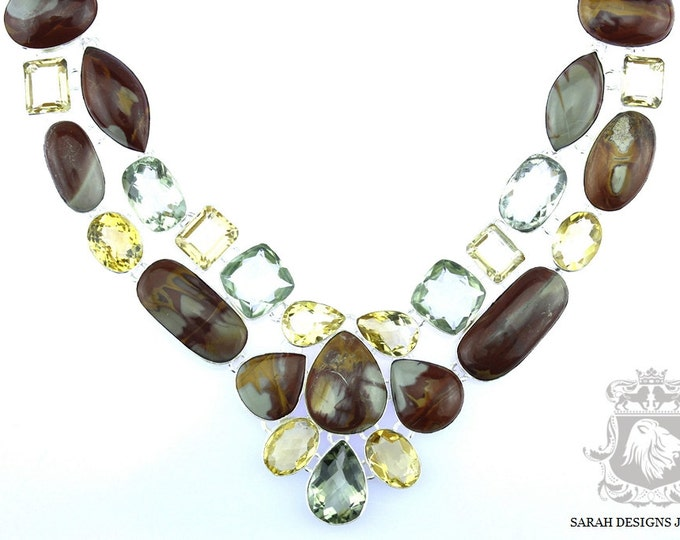 Large Size! Brecciated Jasper Green Amethyst Citrine Prasiolite 925 SOLID Sterling Silver NECKLACE