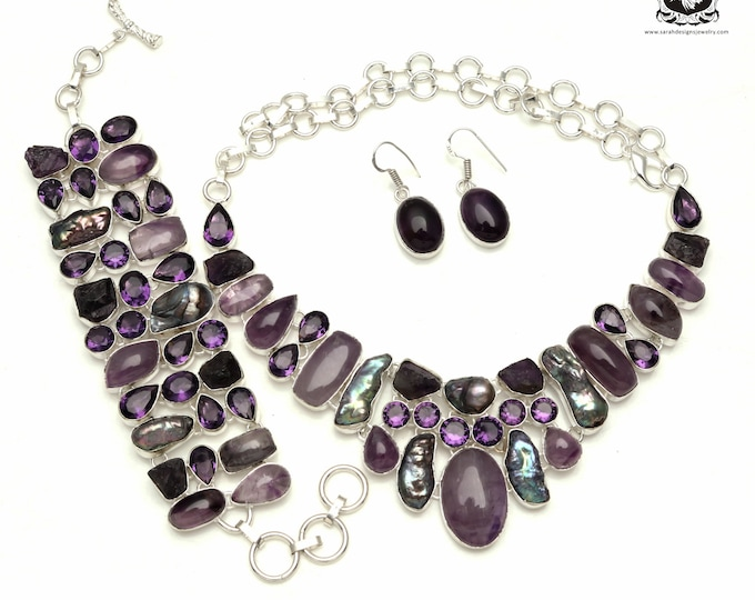 Happy Days are here AGAIN! Amethyst CABOCHON Pearl 925 Sterling Silver + Copper Bonded Necklace Bracelet & Earrings ALL Included SET559