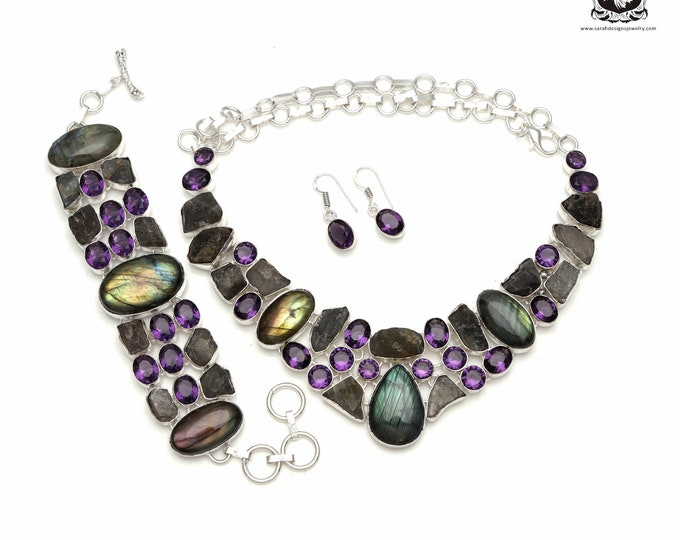 Fancy This! Canadian LABRADORITE Amethyst 925 Sterling Silver + Copper Bonded Necklace Bracelet & Earrings ALL Included SET566